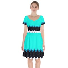 Pattern Digital Painting Lines Art Short Sleeve Bardot Dress