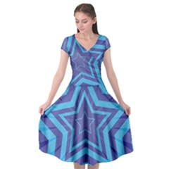 Abstract Starburst Blue Star Cap Sleeve Wrap Front Dress by Jojostore