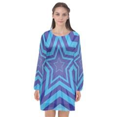 Abstract Starburst Blue Star Long Sleeve Chiffon Shift Dress  by Jojostore