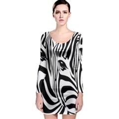 Animal Cute Pattern Art Zebra Long Sleeve Bodycon Dress by Jojostore