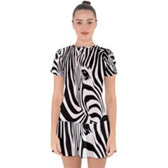 Animal Cute Pattern Art Zebra Drop Hem Mini Chiffon Dress by Jojostore