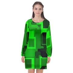 Cyber Glow Long Sleeve Chiffon Shift Dress