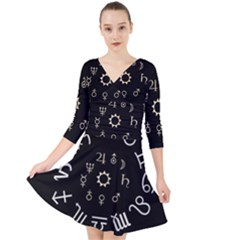 Astrology Chart With Signs And Symbols From The Zodiac, Gold Colors Quarter Sleeve Front Wrap Dress