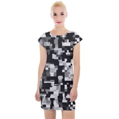 Noise Texture Graphics Generated Cap Sleeve Bodycon Dress