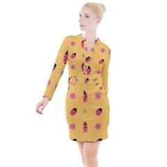 Ladybug Seamlessly Pattern Button Long Sleeve Dress