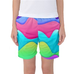 Lines Curves Colors Geometric Lines Women s Basketball Shorts by Sapixe
