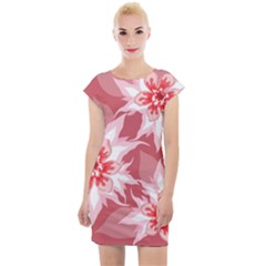 Flower Leaf Nature Flora Floral Cap Sleeve Bodycon Dress