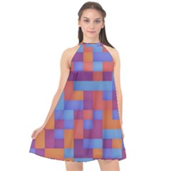 Squares Background Geometric Modern Halter Neckline Chiffon Dress  by Sapixe