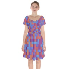 Squares Background Geometric Modern Short Sleeve Bardot Dress by Sapixe