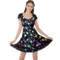 Christmas Star Gloss Lights Light Cap Sleeve Dress by Sapixe