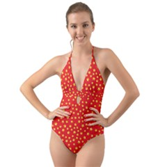 Pattern Stars Multi Color Halter Cut Out One Piece Swimsuit by Sapixe