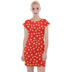 Pattern Stars Multi Color Cap Sleeve Bodycon Dress by Sapixe