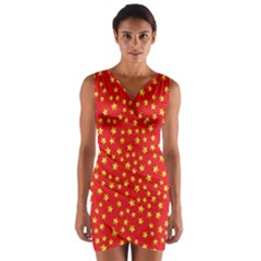 Pattern Stars Multi Color Wrap Front Bodycon Dress by Sapixe