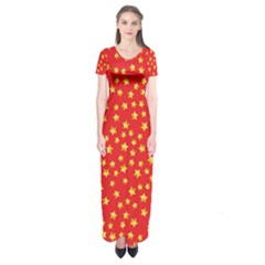 Pattern Stars Multi Color Short Sleeve Maxi Dress by Sapixe