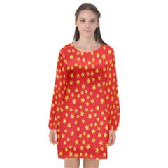 Pattern Stars Multi Color Long Sleeve Chiffon Shift Dress  by Sapixe