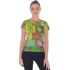 Easter Egg Happy Easter Colorful Short Sleeve Sports Top  by Sapixe