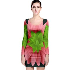Plant Flower Flowers Design Leaves Long Sleeve Bodycon Dress