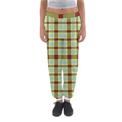 Geometric Tartan Pattern Square Women s Jogger Sweatpants