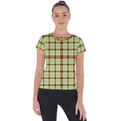 Geometric Tartan Pattern Square Short Sleeve Sports Top  by Sapixe