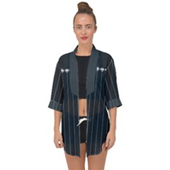 Pinstripe In Diamond Head Pins Pattern Open Front Chiffon Kimono by emilyzragz