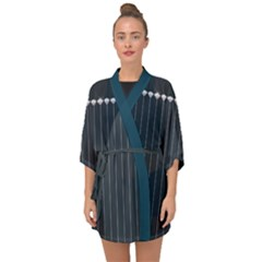 Pinstripe In Diamond Head Pins Pattern Half Sleeve Chiffon Kimono by emilyzragz