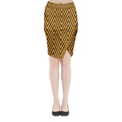 Chevron Brown Retro Vintage Midi Wrap Pencil Skirt by Sapixe