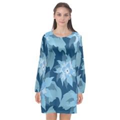 Graphic Design Wallpaper Abstract Long Sleeve Chiffon Shift Dress  by Sapixe