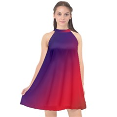 Rainbow Two Background Halter Neckline Chiffon Dress