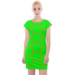 Bee Hive Texture Cap Sleeve Bodycon Dress