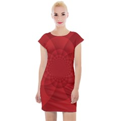 Psychedelic Art Red  Hi Tech Cap Sleeve Bodycon Dress