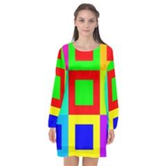 Colors Purple And Yellow Long Sleeve Chiffon Shift Dress