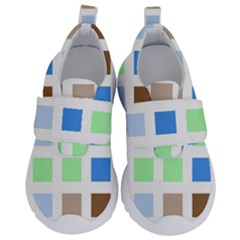 Colorful Green Background Tile Pattern Velcro Strap Shoes