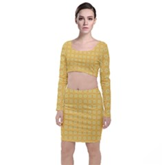 Pattern Background Texture Yellow Top And Skirt Sets by Sapixe