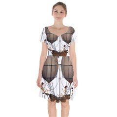 Steampunk Flyer Short Sleeve Bardot Dress