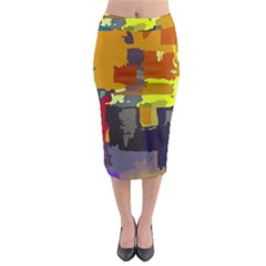 Abstract Vibrant Colour Midi Pencil Skirt by Sapixe