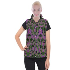 Black Lotus Night In Climbing Beautiful Leaves Women s Button Up Vest by pepitasart