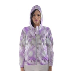 Romantic Pastel Floral,lilac Hooded Windbreaker (women) by MoreColorsinLife