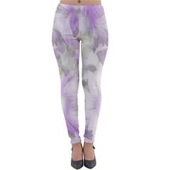 Romantic Pastel Floral,lilac Lightweight Velour Leggings by MoreColorsinLife