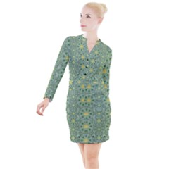 Summer Fantasy Apple Bloom In Seasonal Nature Button Long Sleeve Dress