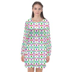 Retro Purple Green Pink Pattern Long Sleeve Chiffon Shift Dress  by BrightVibesDesign