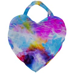 Background Drips Fluid Colorful Giant Heart Shaped Tote