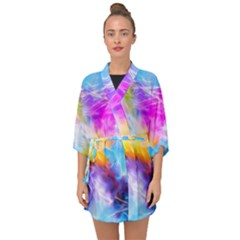 Background Drips Fluid Colorful Half Sleeve Chiffon Kimono by Sapixe