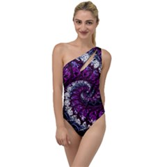 Fractal Background Swirl Art Skull To One Side Swimsuit by Sapixe