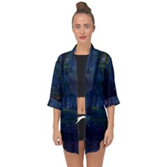 Beeches Tree Forest Beech Shadows Open Front Chiffon Kimono by Sapixe