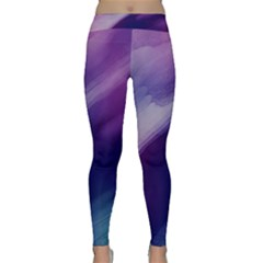 Purple Background Art Abstract Watercolor Classic Yoga Leggings by Sapixe