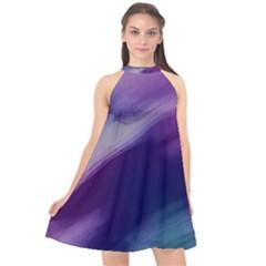 Purple Background Art Abstract Watercolor Halter Neckline Chiffon Dress  by Sapixe