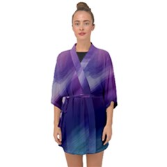 Purple Background Art Abstract Watercolor Half Sleeve Chiffon Kimono by Sapixe