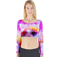 Background Drips Fluid Colorful Long Sleeve Crop Top