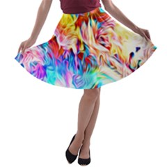 Background Drips Fluid Colorful A Line Skater Skirt by Sapixe