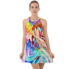 Background Drips Fluid Colorful Halter Tie Back Chiffon Dress